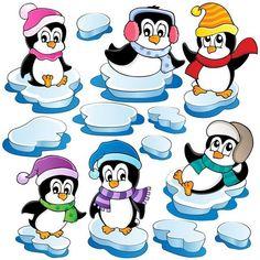 Winter Penguin Wall Sticker East Urban Home Penguins And Polar Bears, Cute Penguins, Christmas Stencils, Christmas Crafts, Window Stickers, Wall Sticker, Penguin Clipart, Inkscape Tutorials, Christmas Cartoons