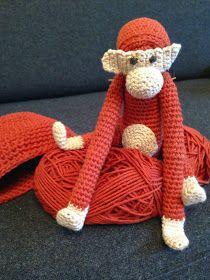 byoestergaard: Hæklet abe Hygge, Animals And Pets, Abe, Monkey, Knitting Patterns, Knit Crochet, Felt, Teddy Bear, Toys