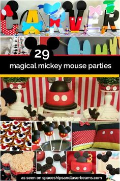 29 Mickey Mouse Birthday Party Ideas - Spaceships and Laser Beams mickey mouse birthday - Birthdays Minnie Mouse Party, Mickey Mouse Birthday Invitations, Mickey Mouse Clubhouse Birthday Party, Mickey Birthday, Mickey Party, 1st Boy Birthday, First Birthday Parties, Birthday Party Decorations, Birthday Ideas