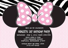 Minnie Mouse-Printed Invitations With by ASweetCelebration on Etsy Minnie Mouse Birthday Invitations, Minnie Birthday, 1st Birthday Girls, 2nd Birthday Parties, Birthday Ideas, Minnie Mouse Party Decorations, Minnie Mouse Theme, Birthday Decorations, Mickey Mouse