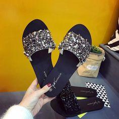 Women Sandals Flips Flops Summer Style Shoes Wedges Sandals Fashion Rivet Crystal Platform – #slippersoutfit #slipperscute #slipperscozyhouse #slippersoutfitlazydays #slippersoutfitcasual #slippersoutfitschool #slippersoutfitsummer #slipperscozy Sandals Outfit Summer, Cute Sandals, Flip Flop Sandals, Wedge Sandals, Wedge Shoes, Flat Shoes, Shoes Sneakers, Bling Flip Flops, Rhinestone Sandals