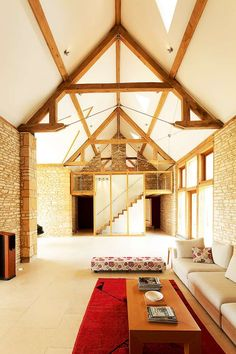 A truly astonishing barn conversion in Gloucestershire both in terms of design and sheer scale. Interior Architecture, Interior Design, Interior Ideas, Village House Design, Converted Barn, Barn Renovation, My Dream Home, Colorful Interiors, Building A House