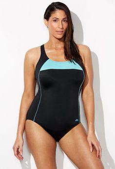 e22822fa4dfbd Full Figure - Chlorine Resistant Xtra Life Lycra Mint Border X-Back Swimsuit  Full Figure