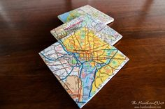 Make custom coasters from maps! This easy DIY project costs under $2, and makes a wonderful, personalized Christmas, birthday, hostess or housewarming gift!