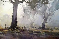 joseph zbukvic - watercolour landscape painting,  the morning fog shrouds the gum trees and completely captures the atmosphere. debiriley.com