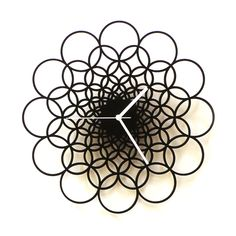 Rings - Unique Contemporary Handmade Wooden Wall Clock in larger size, Geometric Design by ardeola - Handmade Clock Art, Wall Clocks, How To Make Wall Clock, Geometric Wall, Cnc Router, Wooden Walls, Wooden Clock, Dot And Bo, Home Wall Art