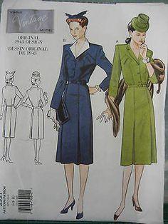 VOGUE VINTAGE 40's WAR YEARS DRESS PATTERN 2321
