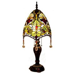 30.5inch H Stained Glass Beaded Brianne's Table Lamp Decor Light River of Goods #RiverofGoods #StainedGlass