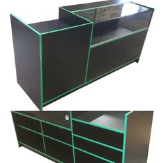 Stylish glass counter display with added till point. Created in a black finish with mint green trim. Quarter glass display top with sliding doors to the rear and open cupboard storage.  Choose from a wide range of counter colours and matching trims.  #shopcounter #counterdisplay #glasscounter #tillpoint #tillstand
