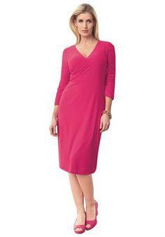 Surplice Knit Dress | Plus Size Dresses | Jessica London