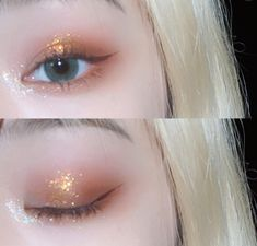 🧚‍♀️ - Make up Eye Makeup Glitter, Kiss Makeup, Makeup Art, Makeup Tips, Hair Makeup, Ulzzang Makeup Tutorial, Korean Makeup Tutorials, Unique Makeup, Simple Makeup