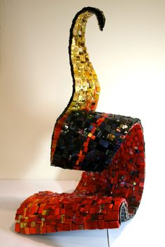 'Spiritfire' front view by Caitlin Hughes, 2012, Mexican and Italian Smalti, gold and mirror pieces on fibreglass and cement substrate. 70cm x 40cm x 30cm.