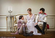 The adaptation of the novel starring Paul Dano (left), Lily James (centre) and James Norton (right) began on Sunday on BBC War And Peace Bbc, Peace Tv, Great Comet Of 1812, The Great Comet, Paul Dano, Masterpiece Theater, James Norton, Mr Darcy, Lily James