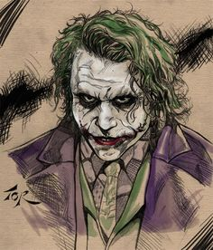 I really liked Nolan's take on the Joker and was inspired to sketch a quick portrait. I can't wait to see this movie.only one week to go! Le Joker Batman, Batman Hero, Heath Ledger Joker, Joker Art, Joker And Harley Quinn, Joker Drawings, Marvel Drawings, Comic Art, Comic Books