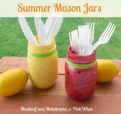 5 mason jar DIYs for your BBQ. Summer Mason Jars: Embrace the warm weather with these colorful Mason jars. Get the how-to VIA @pinkwhen
