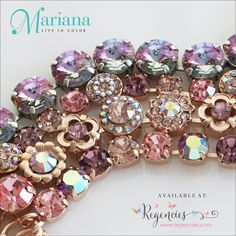 Possibly the prettiest pink and purple Swarovski bracelets ever! Made by Mariana jewelry with a lifetime guarantee. Available at: https://regencies.com/collections/mariana-jewelry