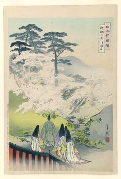The general Toyotomi Hideyoshi (1537-1598)and Cherry Blossoms by Ogata Gekko, 1896