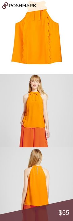 Victoria Beckham for Target marigold tank Beautiful scalloped tank with bow details. Color is marigold. Brand new with tags. Victoria Beckham Tops