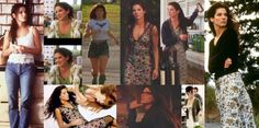 SANDRA BULLOCK's STYLE in Practical Magic (1998, dir. Griffin Dunne)  natural makeup and flowy hair, jeans and cotton lace tops, lots of floral printed slip dresses with cardigans.  (the first one in this series is here) from Nightswimming