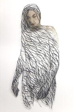 black and white - woman - textile art - Raija Jokinen