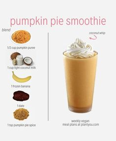 We love to get creative with our fall smoothies! Vegan smoothies that are nutrient-rich are even better. We created this Easy Smoothie Recipes, Yummy Smoothies, Shake Recipes, Breakfast Smoothies, Vegan Breakfast, Breakfast Ideas, Whole Food Recipes, Vegan Recipes, Healthy Drinks
