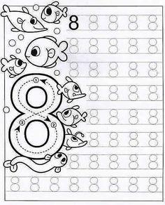 New System-Suitable Numbers Line Study - Preschool Children Akctivitiys Preschool Writing, Numbers Preschool, Kindergarten Math Worksheets, Tracing Worksheets, Math Numbers, Preschool Printables, Worksheets For Kids, Preschool Activities, Pre Writing