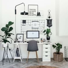 47 Inspiring Home Office Organization Ideas – Office Room Home Office Space, Home Office Design, Home Office Decor, Home Decor, Office Decorations, Office Workspace, Home Office Bedroom, Home Ideas Decoration, Work Desk Decor