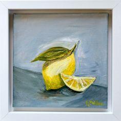 'Fresh Lemon'An ... Original Art, Original Paintings, Still Life Artists, White Box Frame, Modern Impressionism, Impressionist Artists, Oil On Canvas, Canvas Size, Irish Art