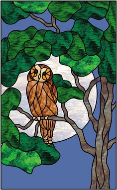 Stained Glass Craftsmen: Stained Glass Barn Owl