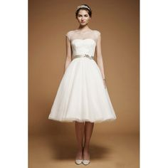 Tea Length Beaded Chiffon Wedding Dress