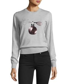 Perfume+Sequined+Grace+Jumper,+Light+Gray+Marl+by+Markus+Lupfer+Remittance+at+Neiman+Marcus.