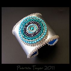 Around & Around - Bead Embroidered Turquoise, Teal, Purple Swarovski Crystals on Silver Leather Cuff by Triz Designs