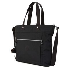Lizzie Tote Bag - Black | Kipling -- I love that it has a sleeve on the back that slips over a roll-aboard handle.