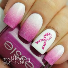 """Nails / Nailart - Breast Cancer Awareness mani. Used Essie """"The Girls Are Out"""" and """"I Am Strong"""", and Cult Nails """"Tempest"""" topped with China Glaze """"Fairy Dust"""". I did the ribbon with my dotting tools using """"The Girls Are Out"""" --- Instagram @majikbeenz"""