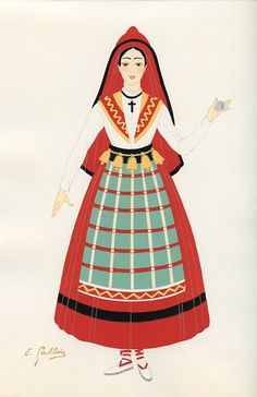 Province Basque, French Provincial Costumes (1936), artist: Emile Gallois