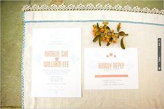 peach wedding invitation | VIA #WEDDINGPINS.NET