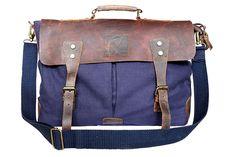 DH 16' vintage rustic look canvas leather messenger satchel briefcase bag ** For more information, visit image link. (This is an Amazon Affiliate link and I receive a commission for the sales)