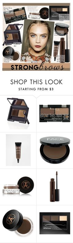 """""""No 439:Raise Your Brows"""" by lovepastel ❤ liked on Polyvore featuring beauty, Rimmel, NYX, FACE Stockholm, Anastasia Beverly Hills, MAC Cosmetics, Maybelline, BeautyTrend, strongbrows and boldeyebrows"""