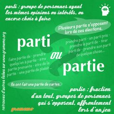 Parti ou partie French Language Lessons, French Language Learning, French Lessons, English Lessons, How To Speak French, Learn French, Learn English, English English, How To Teach Grammar