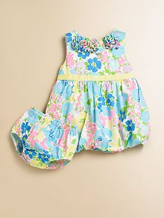Lilly Pulitzer Kids - Infant's Britta Baby Bubble Dress & Bloomers Set - Preppy baby