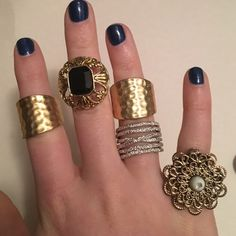 Costume jewelry ring bundle. Ask about sizes. $5 per ring. Must by a minimum of two to make a purchase. Jewelry Rings