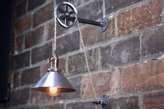 Industrial Wall Sconce - Pendant Edison - Hanging Lamp - Metal Shade - Edison Bulb - Wall Light