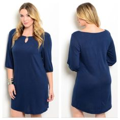 """Blue dress (1x 2x 3x) Blue dress (1x 2x 3x) Availability- 1x•2x•3x • 2•2•2 Measures 1x: L 38"""" B 40""""• 2x: L 39"""" B 42""""• 3x: L 40"""" B 44"""" Materials 67% polyester/29% rayon/4% spandex. This is a semi thick dress with great stretch. The top half is lined, but not the bottom half.  NWT. Brand new with tags. PLEASE do not purchase this listing. Price is firm unless bundled. No trades Dresses"""