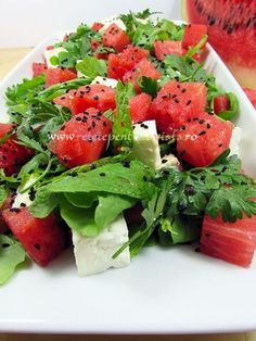 #Salata de pepene rosu este foarte racoritoare si aspectuoasa, o combinatie de arome care surprinde in mod placut papilele gustative. Yummy Food, Tasty, Caprese Salad, Avocado Toast, Salads, Appetizers, Vegetarian, Meals, Vegan