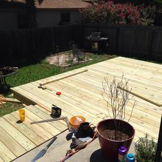 how-to-build-a-deck-step-by-step-with-pictures-decking-2-middle-class-dad Laying Decking, Backyard, Patio, Deck Steps, Deck Builders, Build Your Own, Pool Decks, Diy Deck, Deck Design