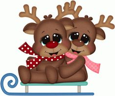 Silhouette Design Store - View Design #71106: rudy & reindeer on snow sled pnc