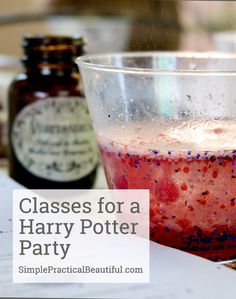 Harry Potter birthday party with ideas for games and activities based on the Hogwarts classes