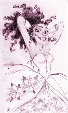 concept art for Tiana; tiny waist, beautiful face...