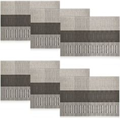 Shacos Exquisite PVC Placemats Woven Vinyl Place Mats for Table Heat-resistant Placemats (6, Ombre brown and gray)