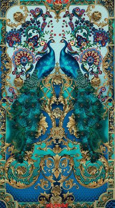 Turquoise color Peacock print fabric from Timeless Treasures per panel